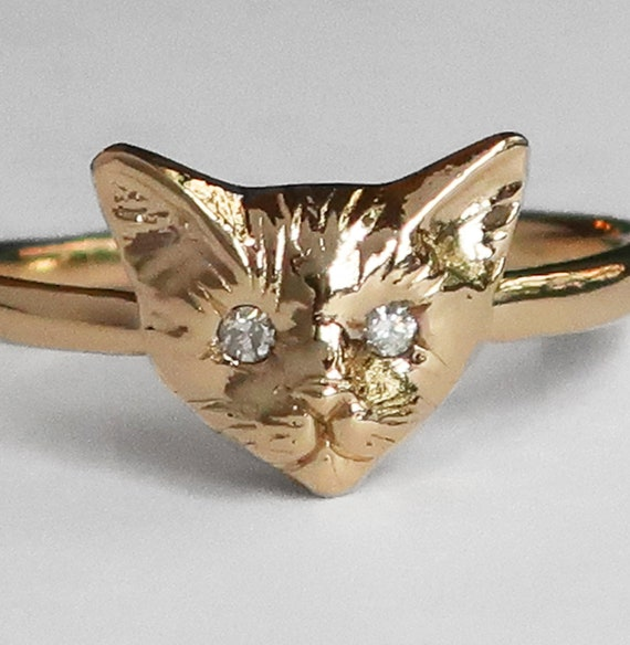14k Yellow Gold Kitty Cat Ring with VS1 White Diamond Eyes, US size 5.75 or 6-Ready to Ship