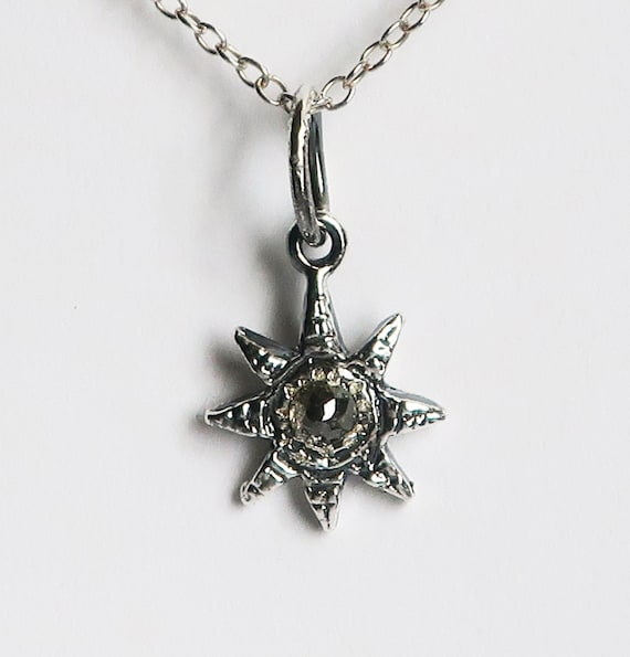 Sterling Silver and Dark Grey Rose Cut Diamond Celestial Charm Necklace-Ready to Ship