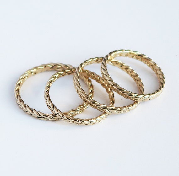 Solid 10k Yellow Gold Thin Braid Rings-Samples-Ready to Ship, US sizes 5, 6.25, 7, or 8.75
