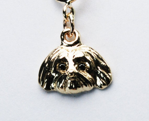 Gold and Black Diamond Shi Tzu charm