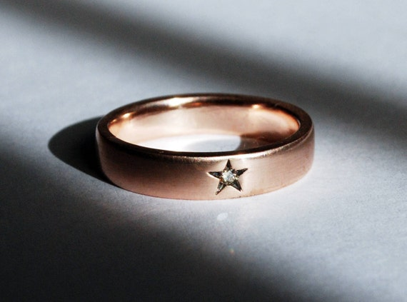 10k Rose Gold Little Star Ring with White Diamond-US size 6.5-Ready to Ship