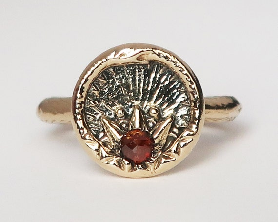 Yellow Gold and Red Diamond Ouroboros Snake, Antique Parisian Button Ring-size 7-Ready to Ship