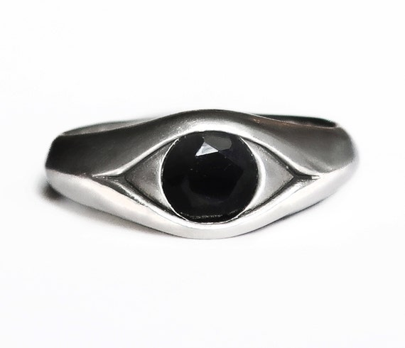 Large Sterling Silver and Faceted Onyx Ring-Ready to Ship