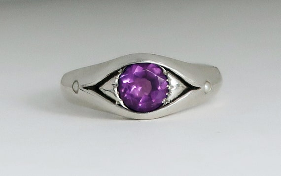 Sterling Silver, Amethyst and Pearl Eye Ring, Size 6.75-Ready to Ship