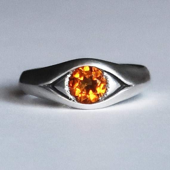Large Sterling Silver and Citrine Eye Ring-Ready to Ship