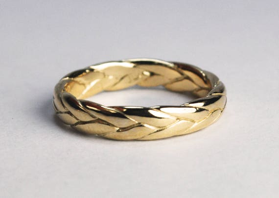 14k Yellow Gold Wide Braid Ring with Low Profile-solid cast