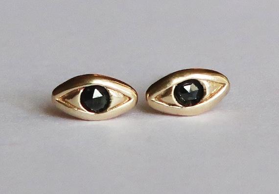 Solid Gold with Black Diamond Evil Eye Stud Earrings
