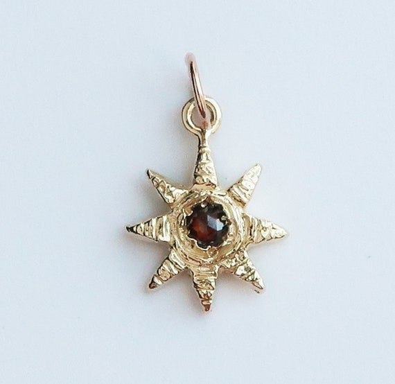 Gold and Red Rose Cut Diamond Celestial Charm Necklace-Ready to Ship