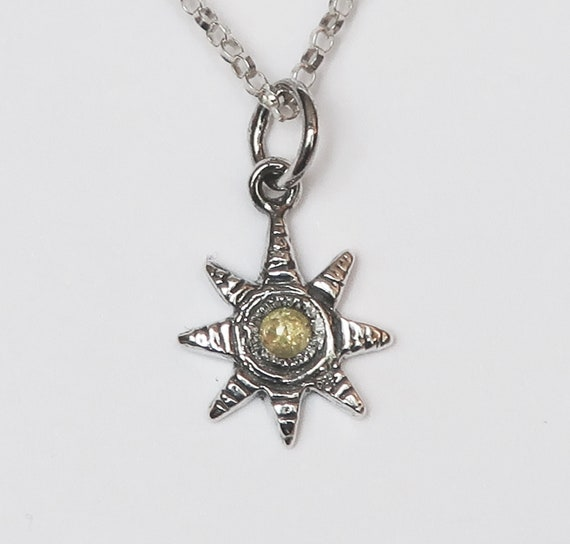 Blackened Sterling Silver and Yellow Rose Cut Diamond Celestial Charm Necklace-Ready to Ship