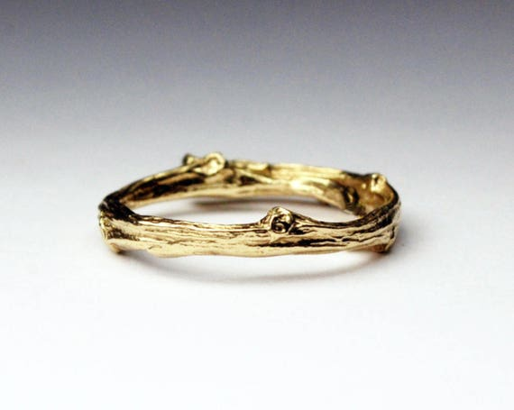 Tompkins Square Park Gold Twig Ring -closed circle-14k Yellow gold