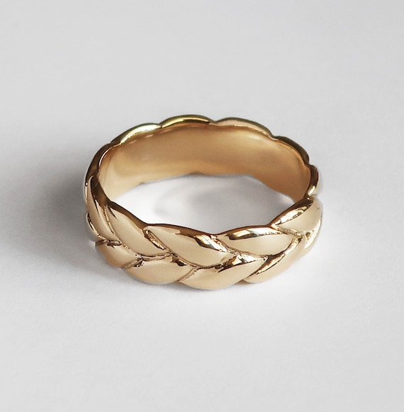 Wide Gold Braid Ring, Low profile, US Size 5, Ready to Ship