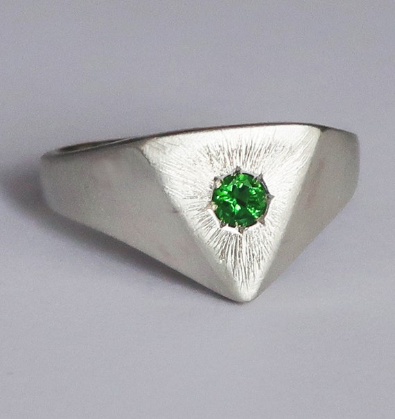 Silver and Blue Green Tourmaline Triangle Space Ring-US Size 7.75- Ready To Ship