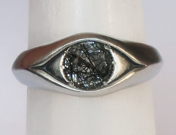 Sterling Silver and Black Rutilated Quartz Eye Ring-Ready to Ship