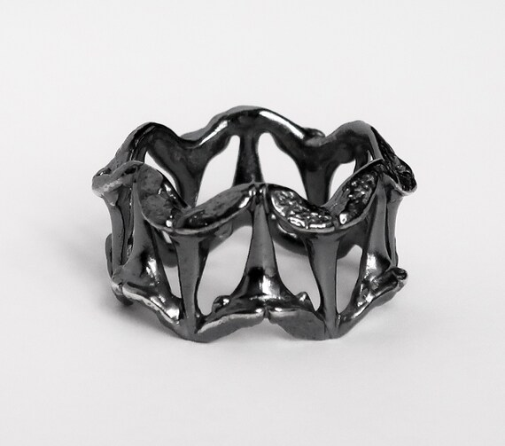 Sterling Silver Blackened Small Shark Tooth Pattern Ring-Ready to Ship