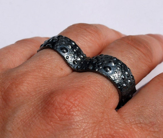 Blackened Sterling Silver Sea Urchin 2 Finger Knuckle Duster Ring-Ready to Ship