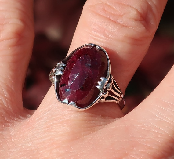 Giant African Ruby and Sterling Silver Ring_Ready to Ship-Size 5.5