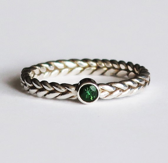 Sterling Silver Braid Ring with Green Tourmaline-Ready to Ship, US size 6.25