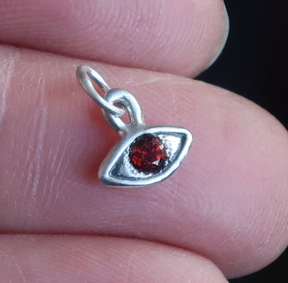 Sterling Silver & Red Garnet Eye Charm-small size-Ready to Ship