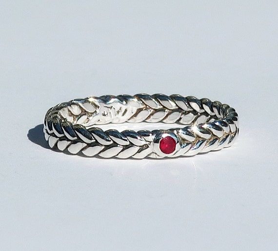 Sterling Silver Braid Ring with small Red Ruby-Ready to Ship, US size 7.25