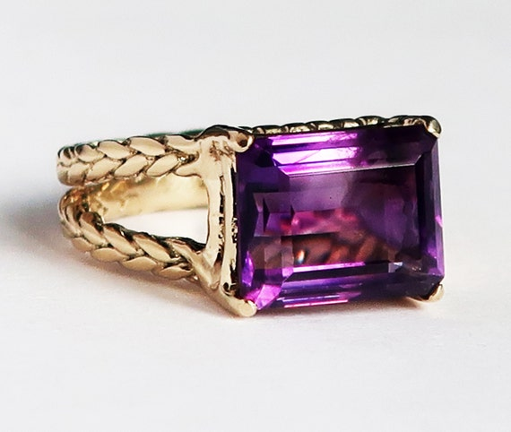 "Gold and Antique Purple Amethyst ""Gail Ring""-US size 6-Ready to Ship"