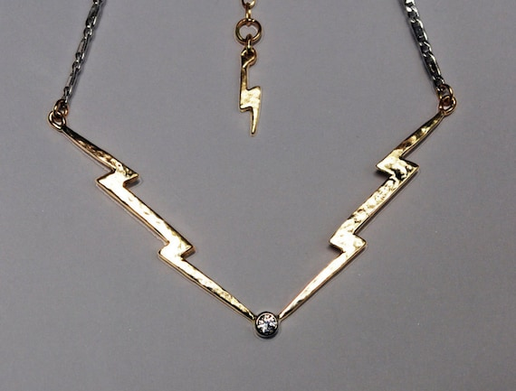 For Jess-Payment 3 of 4, Gold & Diamond Lightning Bolt Necklace