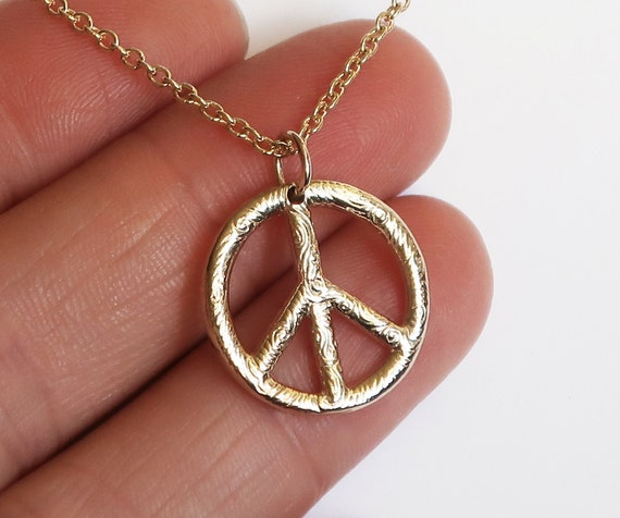 Small Gold Peace Vibe Necklace