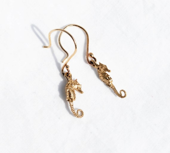 Solid Gold Tiny Dangling Seahorse Earrings READY TO SHIP