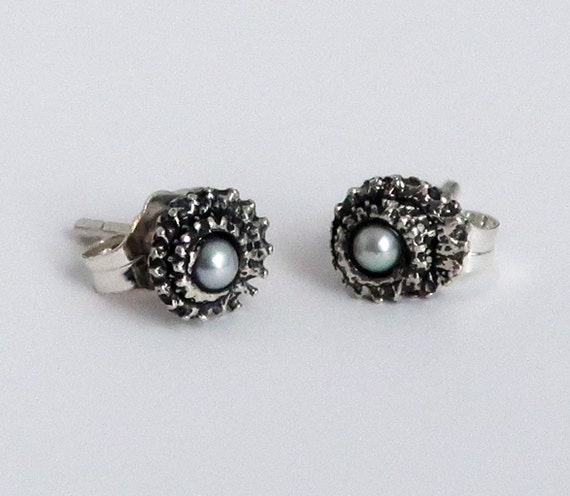 Blackened Sterling Silver and Pearl Tiny Tentacle Stud Earrings-Ready to Ship