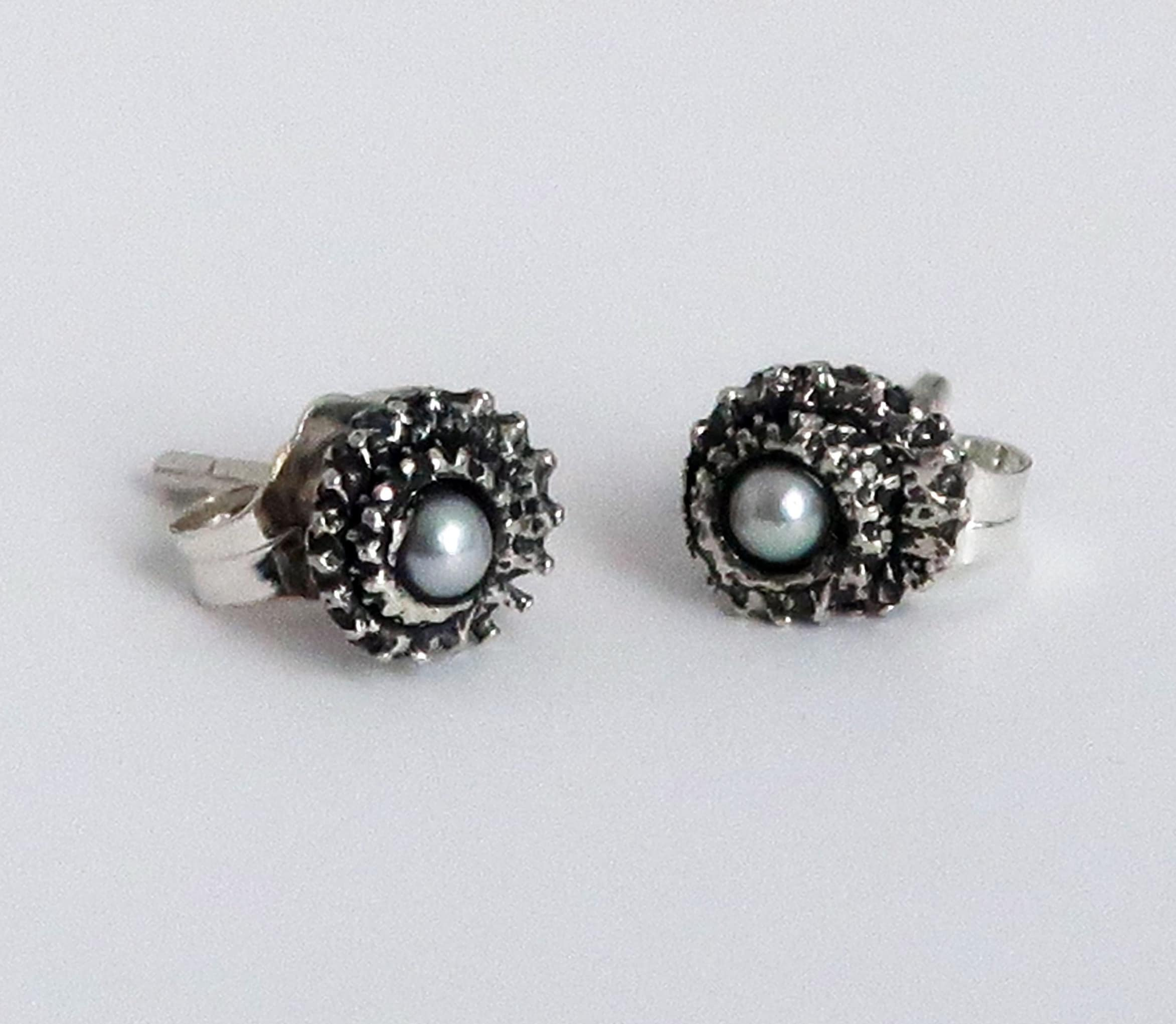1f90b0b75 Blackened Sterling Silver and Pearl Tiny Tentacle Stud Earrings ...