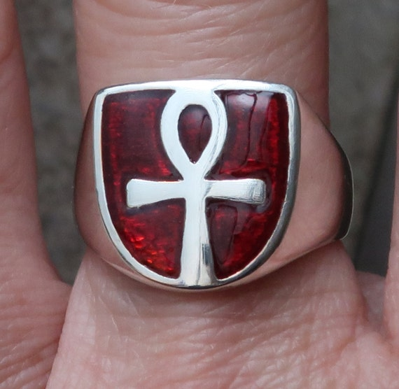 Sterling Silver and Red Enameled Ankh Ring, Limited Edition-1 of 3, Ready to Ship, US Size 7.25