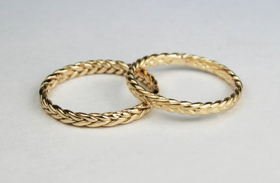 Solid 14k Yellow Gold Thin Braid Ring