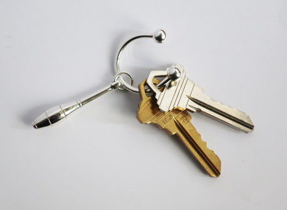 "Sterling Silver Juggler's Club Key Ring-""Tiffany's"" Style Ring."