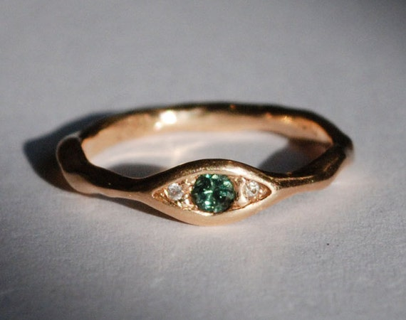 18k Peach Gold, Blue Green Diamond & White Diamond Eye Ring