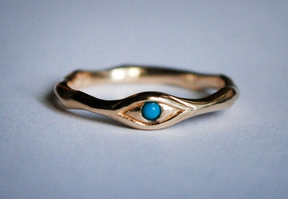 14k Gold and Persian Turquoise Eye Ring-Ready to Ship