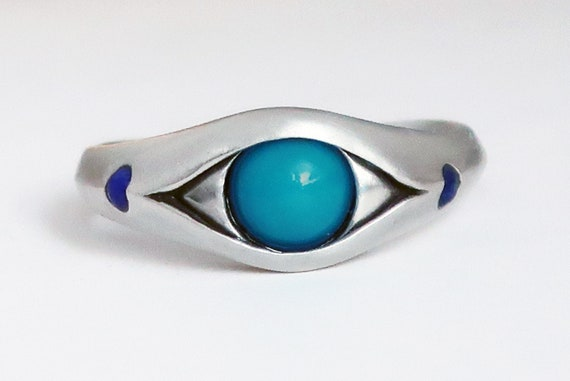 Sterling Silver, Persian Turquoise and Blue Lapis Eye Ring-Ready to Ship