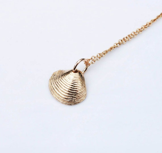 Tiny Solid 14k Gold Shell Necklace
