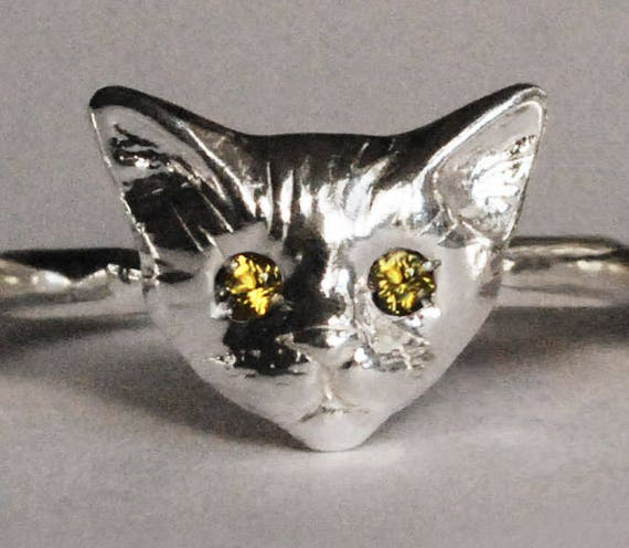 Sterling Silver Kitty Cat Ring with Citrine or Yellow Sapphire Eyes
