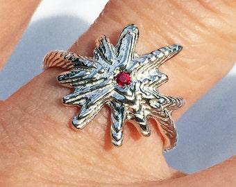 Sterling Silver & Red Ruby Starburst Ring