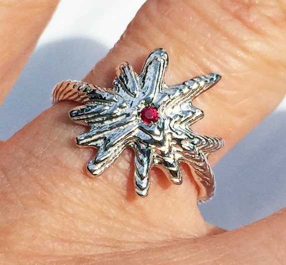 Sterling Silver & Red Ruby Starburst Ring-Ready to Ship