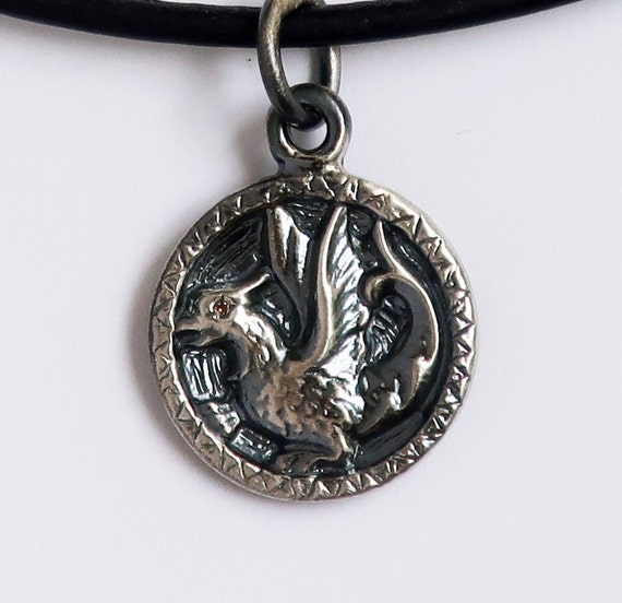 Sterling Silver & Genuine Yellow Sapphire Baby Dragon Necklace