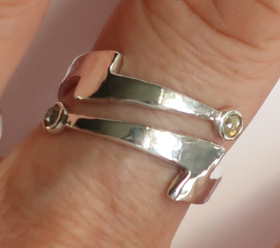 Silver Diamond Lightning Bolt  Wrap Ring-Ready to Ship