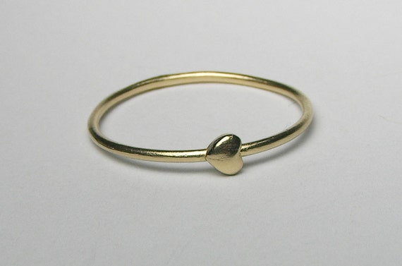Yellow Gold Tiny Heart Ring-Ready to Ship