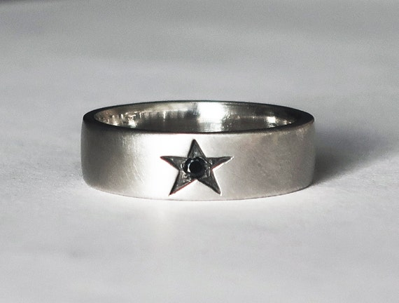 Sterling Silver Star Ring with Black Diamond-Limited Edition US size 7