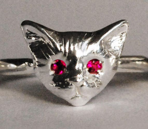 Sterling Silver Kitty Cat Ring with Ruby or Pink Sapphire Eyes