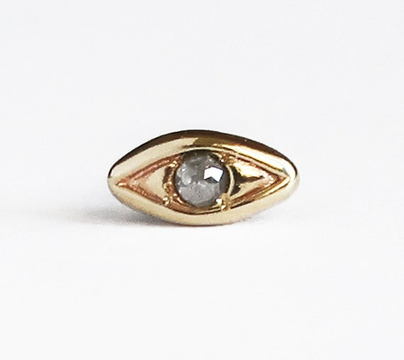 Solid Yellow Gold with Salt & Pepper Diamond, Single Stud Evil Eye Earring-Ready to Ship