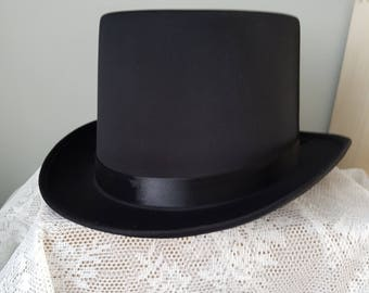 206d0876c5c Black Top Hat - Black Gothic Hat Tophat black Hat size 57 or 59 - also BULK  WHOLESALE 10 HATS with discount. Goth Victorian Black Top Hat