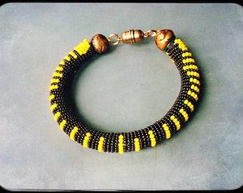 Yellow Kenyan Striped bracelet