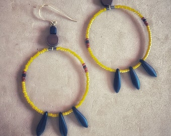 Yellow Loops with Matte Black Feathers  on Goldfill earwires