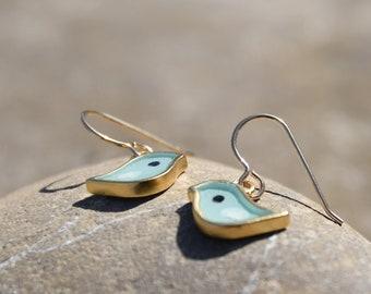 Gold robin blue bird earrings