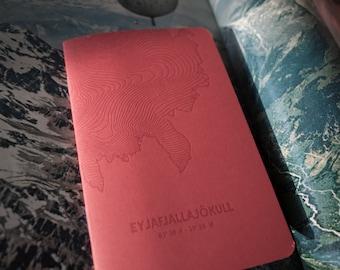 Eyjafjallajökull Glacier Letterpress Notebook Red - Pack of 3
